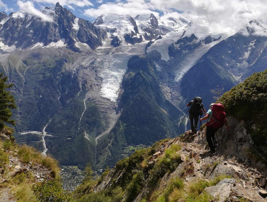 Descente face aux glaciers
